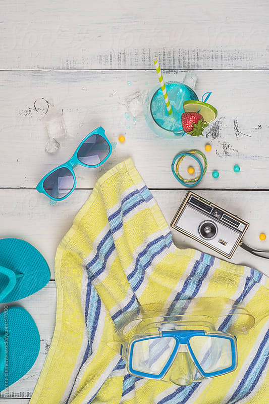 Sunglasses, Snorkel and Goodies for a Fun Day on the Water by suzanne clements for Stocksy United