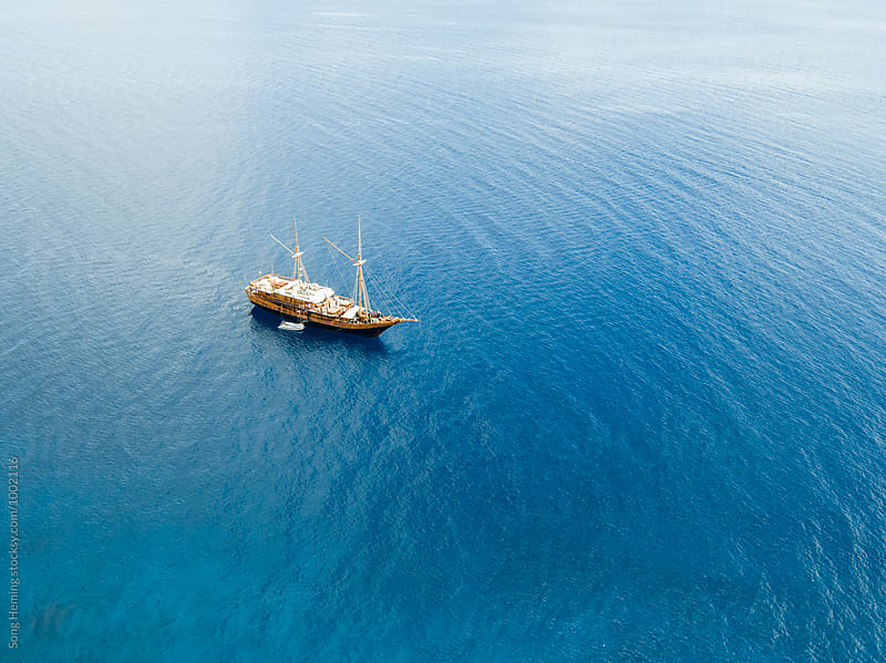 aerial view of yacht by Song Heming for Stocksy United