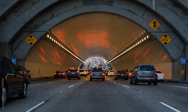 Cars entering a tunnel in San Francisco by kkgas for Stocksy United