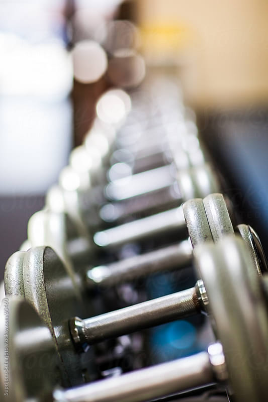 Row of dumbbells in a gym by Suprijono Suharjoto for Stocksy United