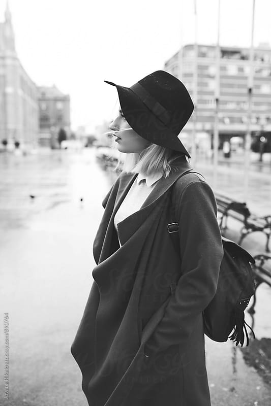 Fashionable young woman black and white photo by Jovana Rikalo for Stocksy United