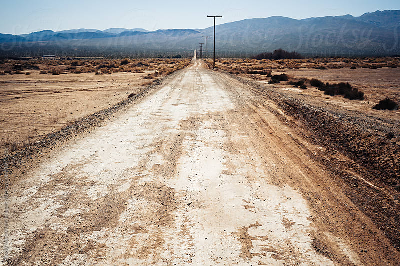 Dirt road in the Mojave Desert, California by Good Vibrations Images for Stocksy United