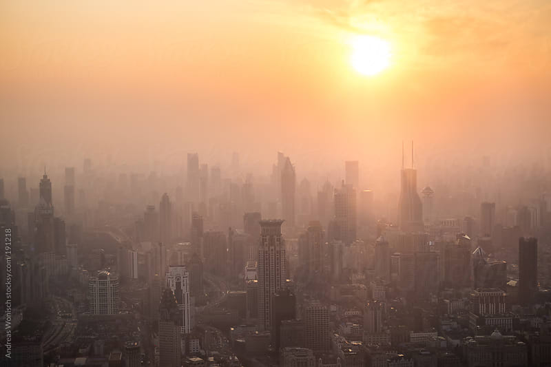 Shanghai Puxi Cityscape Sunset View by Andreas Wonisch for Stocksy United