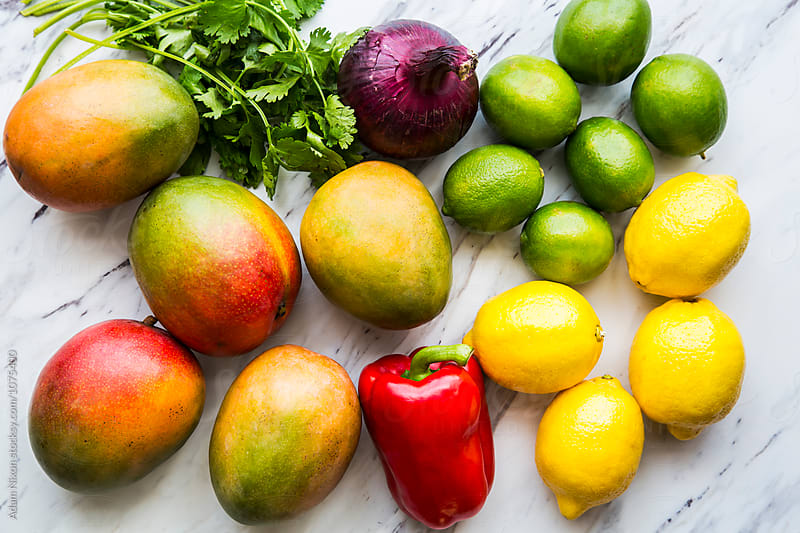 Ingredients for mango salsa by Adam Nixon for Stocksy United