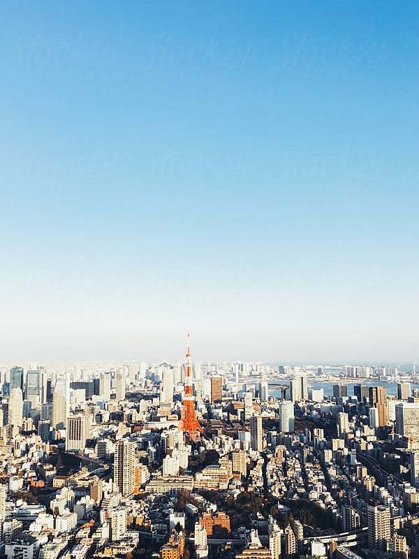 Panoramic Tokyo Cityscape With Tokyo Tower by Julien L. Balmer for Stocksy United