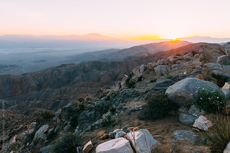 Setting Sun Over Coachella Valley And San Bernardino Mountains by Luke Mattson for Stocksy United