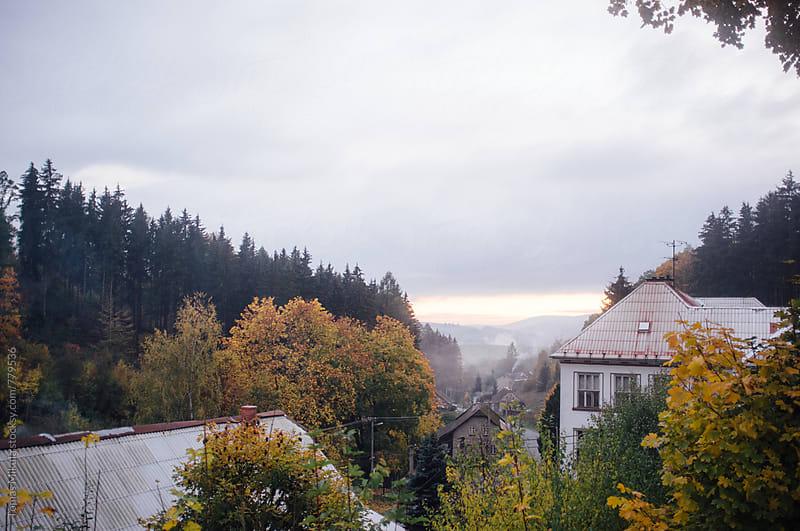 View on the valley during the fall by Tomas Mikula for Stocksy United