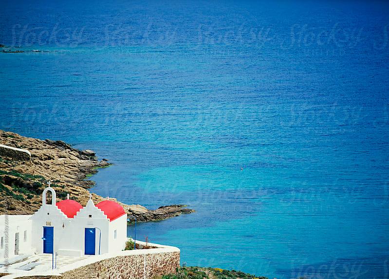 Red roofed church, Mykonos. Greece. by Hugh Sitton for Stocksy United