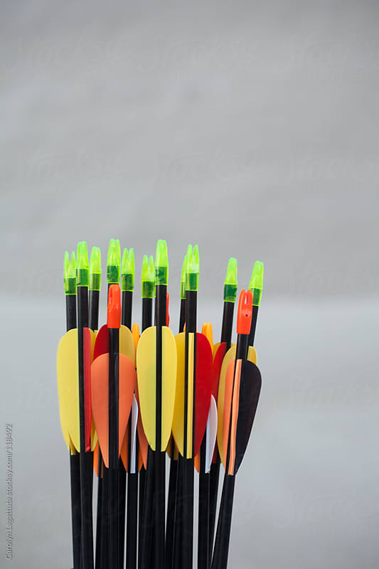 The tops of arrows used to shoot with a bow by Carolyn Lagattuta for Stocksy United