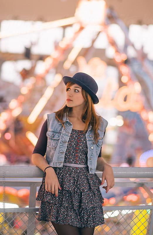 Pretty girl in the amusement park by Aleksandra Jankovic for Stocksy United