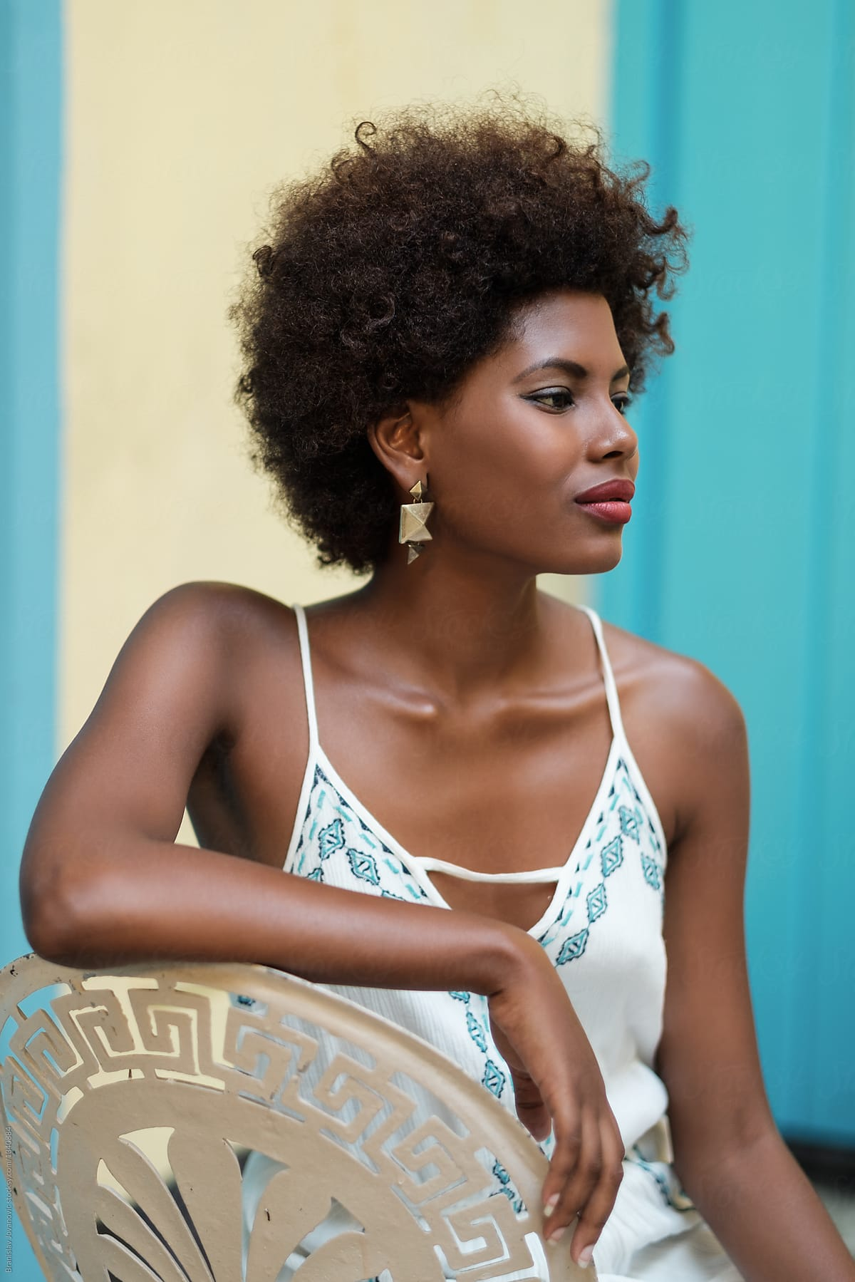 Portrait Of Beautiful African Woman With Afro Hairstyle Stocksy United