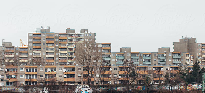 Brutalist Berlin Architecture - Apartment Block in Winter by VISUALSPECTRUM for Stocksy United
