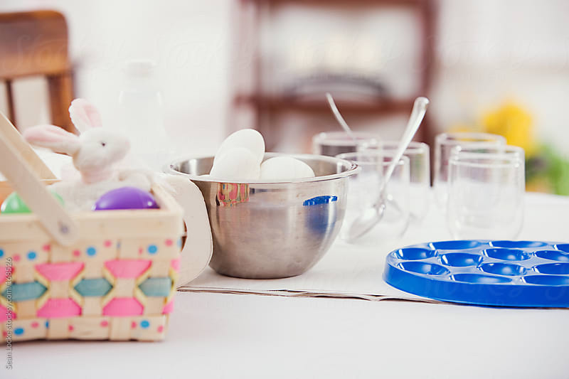 Easter: Table Ready For Easter Egg Dying by Sean Locke for Stocksy United