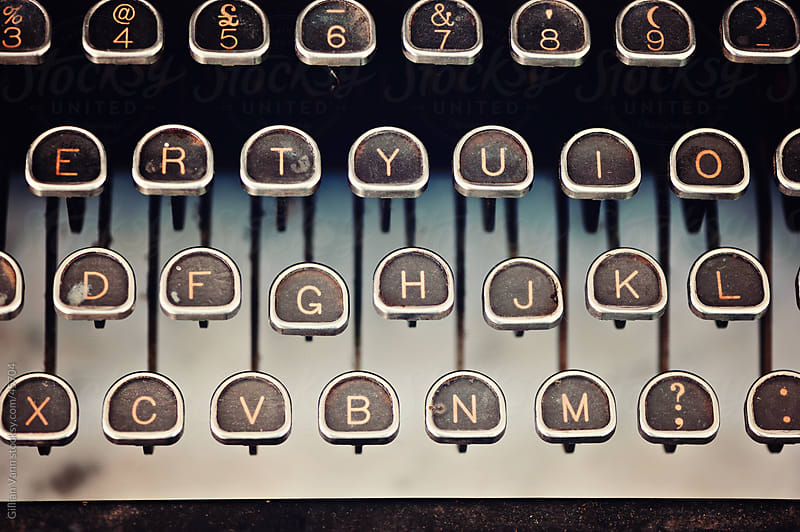 vintage typewriter keyboard close-up by Gillian Vann for Stocksy United