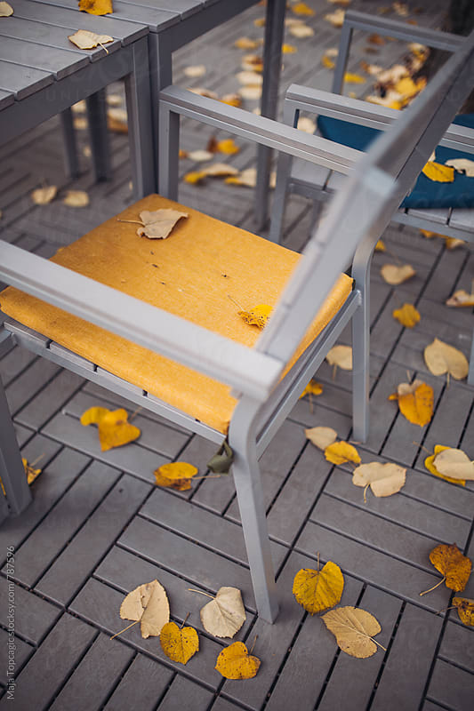 Chairs and table covered with autumn leaves by Maja Topcagic for Stocksy United