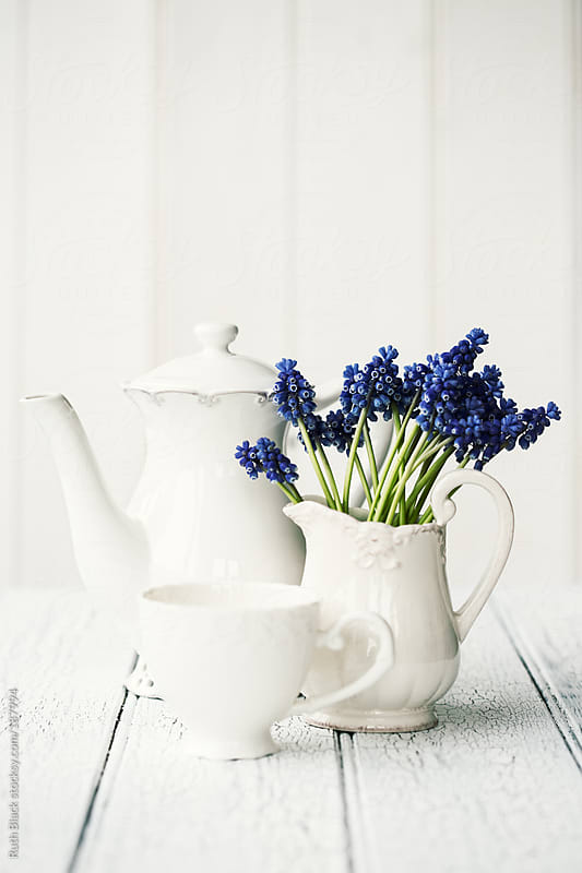 Grape hyacinths and vintage crockery by Ruth Black for Stocksy United