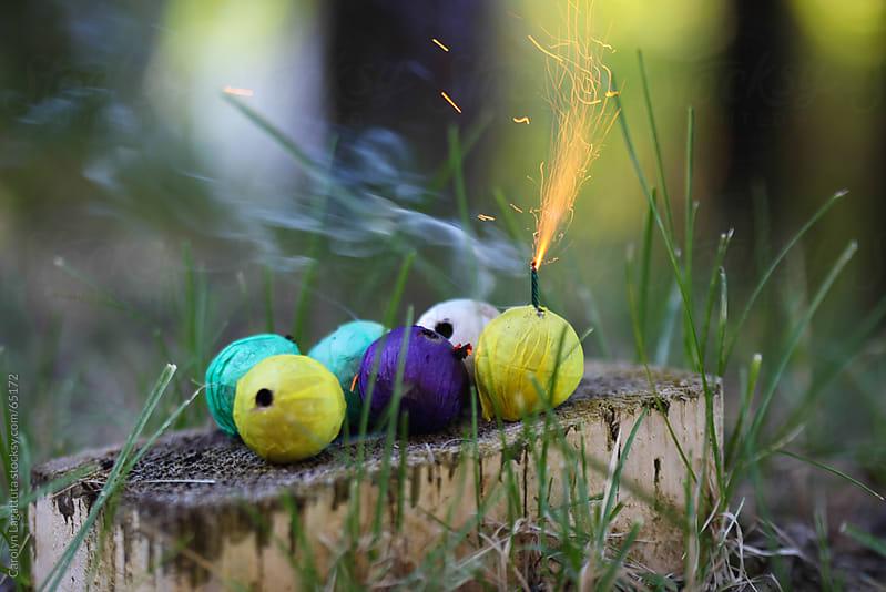 Colorful smoke bombs by Carolyn Lagattuta for Stocksy United