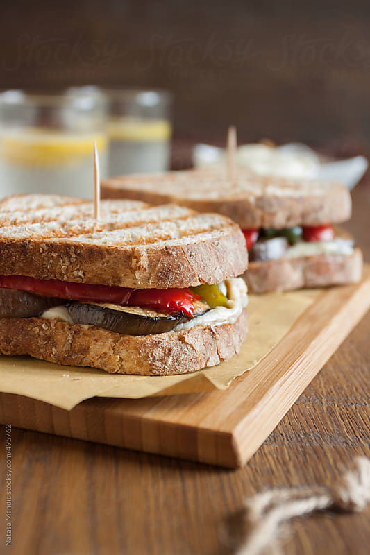 Toasted sandwich with vegetables by Nataša Mandić for Stocksy United