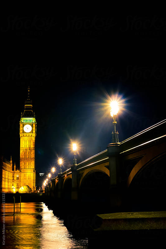 Big Ben at night by Kirstin Mckee for Stocksy United