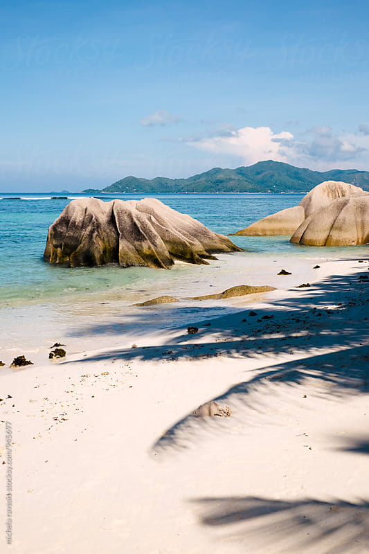 Sand beach in La Digue by michela ravasio for Stocksy United