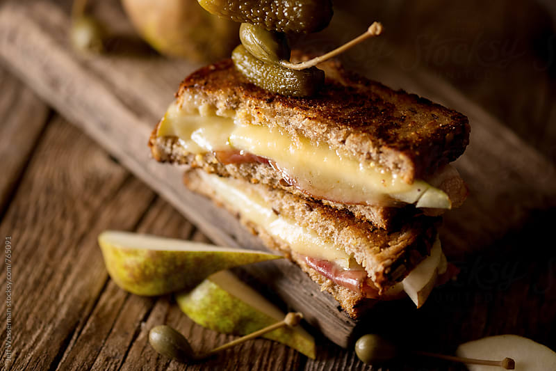 Grilled Cheese with Prosciutto and Pear with Garnish by Studio Six for Stocksy United