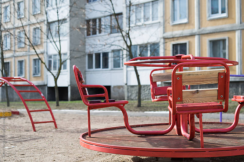 old swings on the street of minsk city by Javier Pardina for Stocksy United