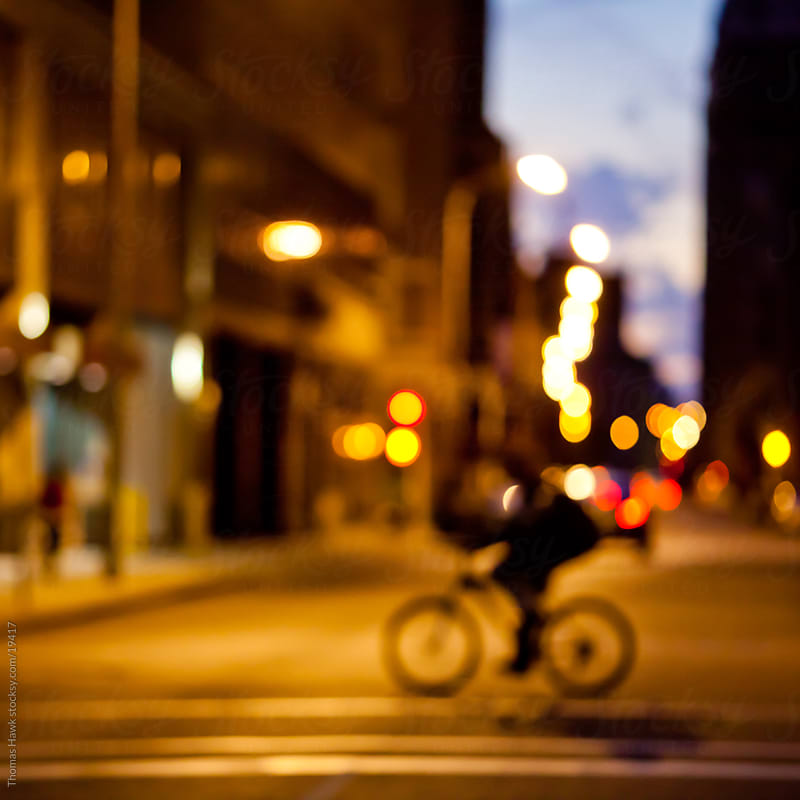 Out of Focus bicycle silhouette by Thomas Hawk for Stocksy United