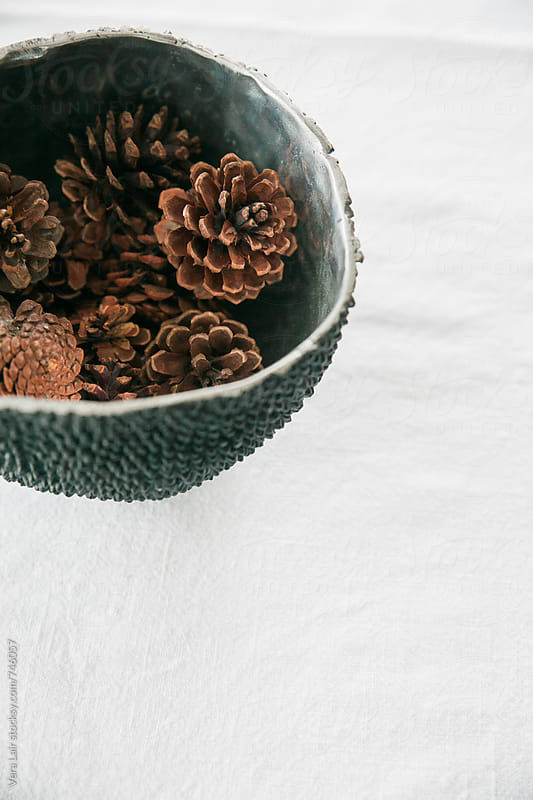 Pinecones in a bowl by Vera Lair for Stocksy United