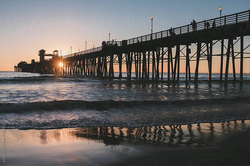 Oceanside pier during sunset by paff for Stocksy United