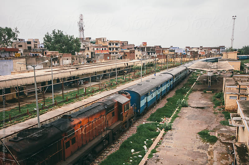 Train station and trains in Agra, India by Alejandro Moreno de Carlos for Stocksy United