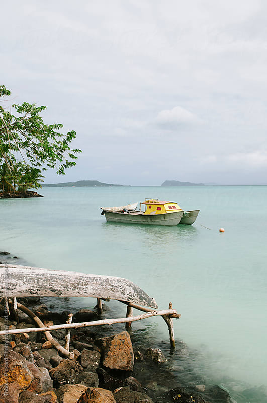 Outrigger, boat and lagoon, Upola Island, Samoa. by Thomas Pickard for Stocksy United