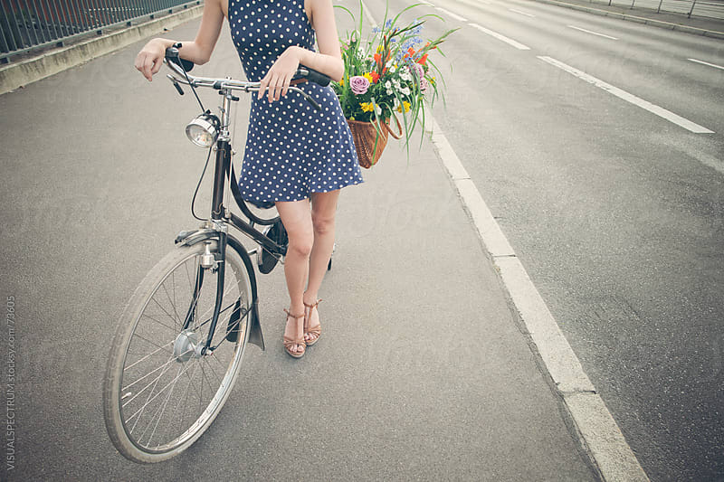Pretty Girl With Bicycle by VISUALSPECTRUM for Stocksy United