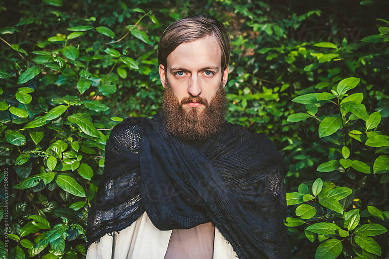 Portrait of a Bearded Young Man with Dark Fashion Clothes by Giorgio Magini for Stocksy United