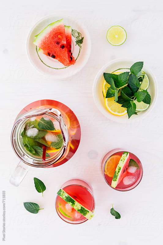 Homemade watermelon lemonade by Pixel Stories for Stocksy United