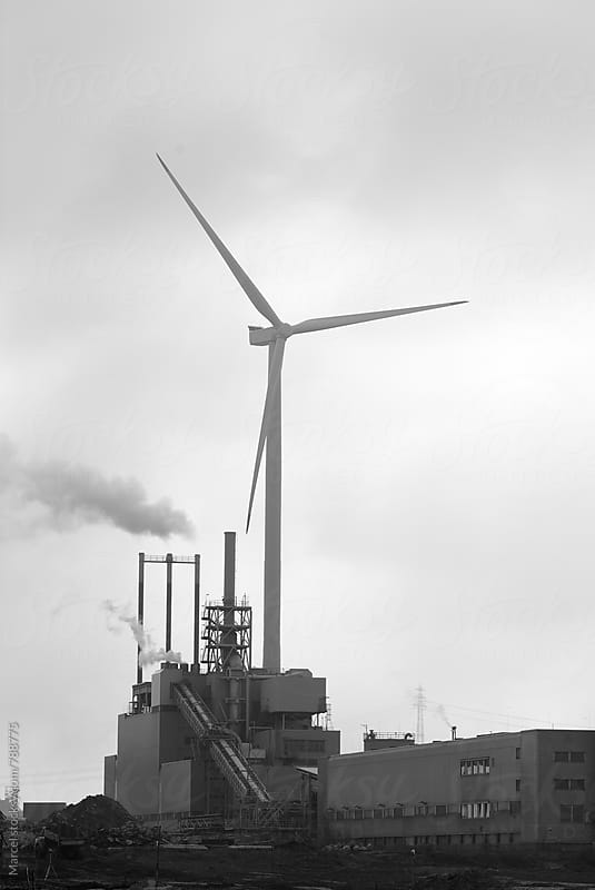 Windmill and industry in Hamburg harbour by Marcel for Stocksy United