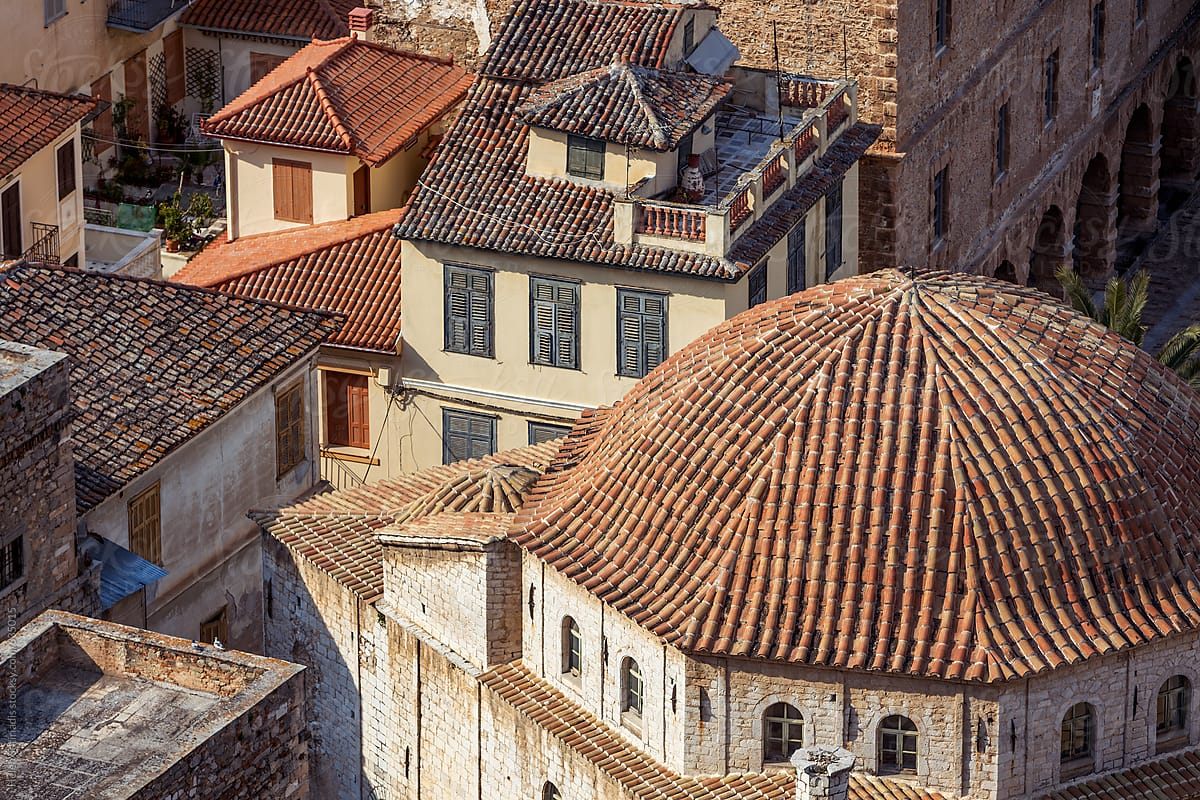Buildings With Ceramic Tile Roofs In The Greek Town Of Nafplion In