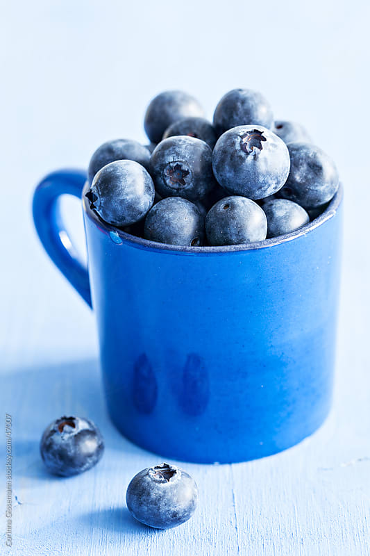 fresh blueberries in a blue cup on blue background by Corinna Gissemann for Stocksy United