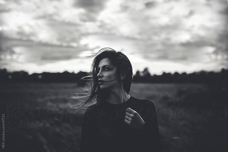 Alone Woman Portrait Outdoors by HEX. for Stocksy United