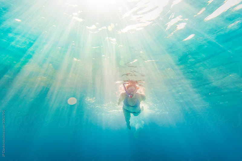 Woman In Bikin Snorkeling Underwater at All Inclusive Caribbean Resort White Sand Beach by JP Danko for Stocksy United