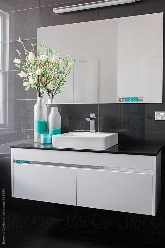 Modern bathroom design by Rowena Naylor for Stocksy United
