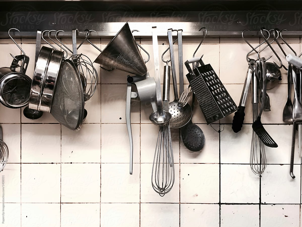 Kitchen Utensils Hanging On The Rack By Paperclip Equipment Kitchen Utensil
