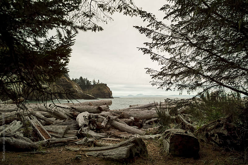 lighthouse at Cape Disappointment by Tod Kapke for Stocksy United