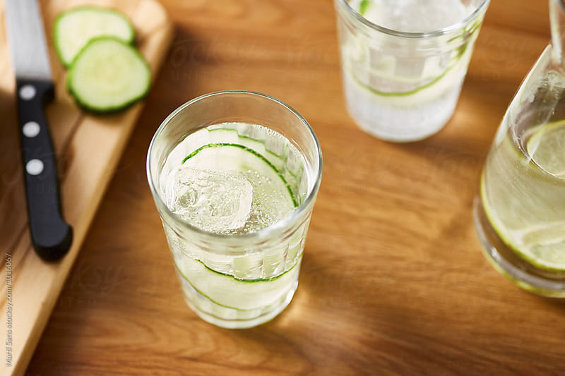 Fresh cucumber sparkling water by Martí Sans for Stocksy United