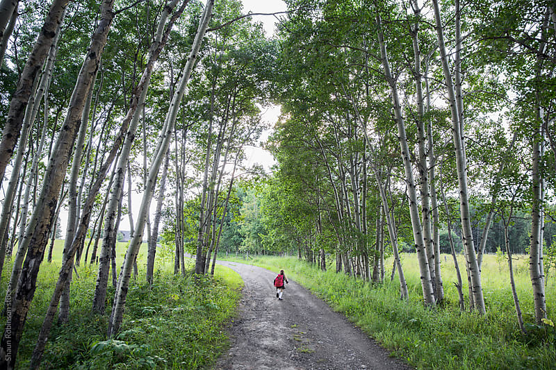 a girl running up a gravel road surrounded by trees by Shaun Robinson for Stocksy United