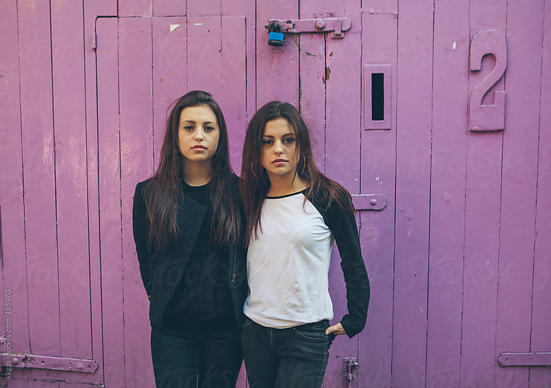 Twin teenage girls side by side by kkgas for Stocksy United