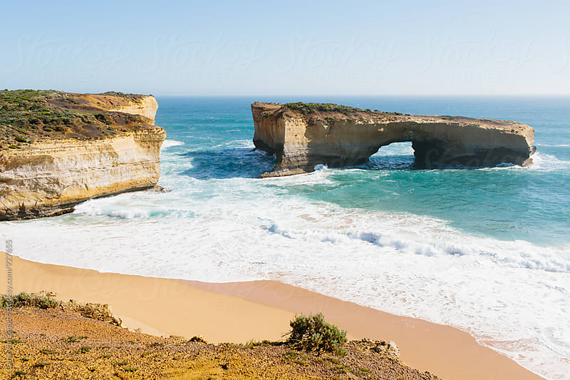 London Bridge rock formation on Great Ocean Road, Australia by Cameron Zegers for Stocksy United