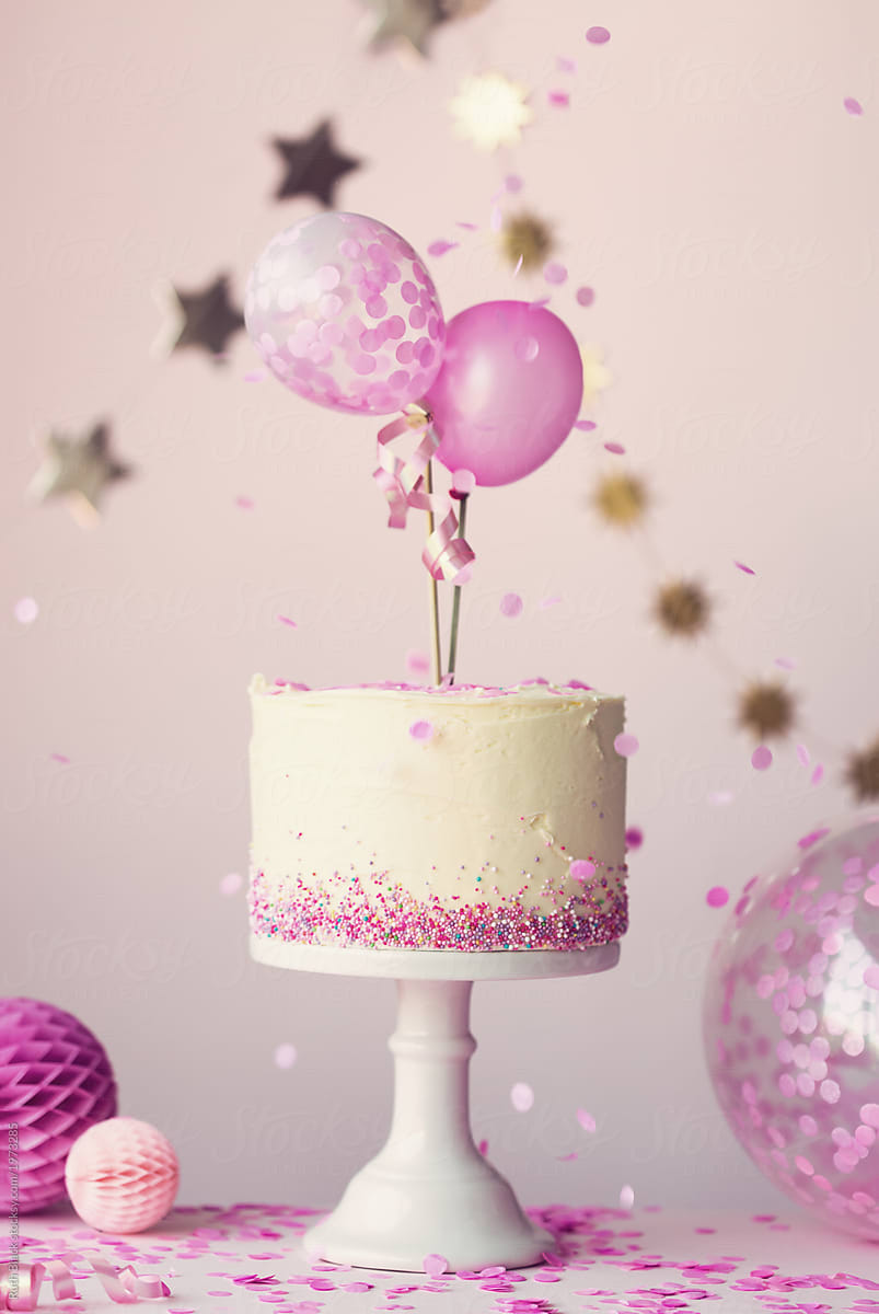 Birthday Cake With Balloons And Confetti