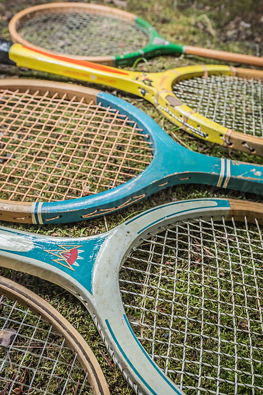 Vintage Tennis and Badminton Raquets from the 60's 70's by suzanne clements for Stocksy United
