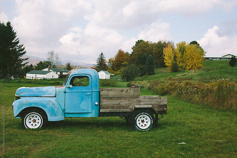 Old Blue Truck In A Field by Laura Austin for Stocksy United