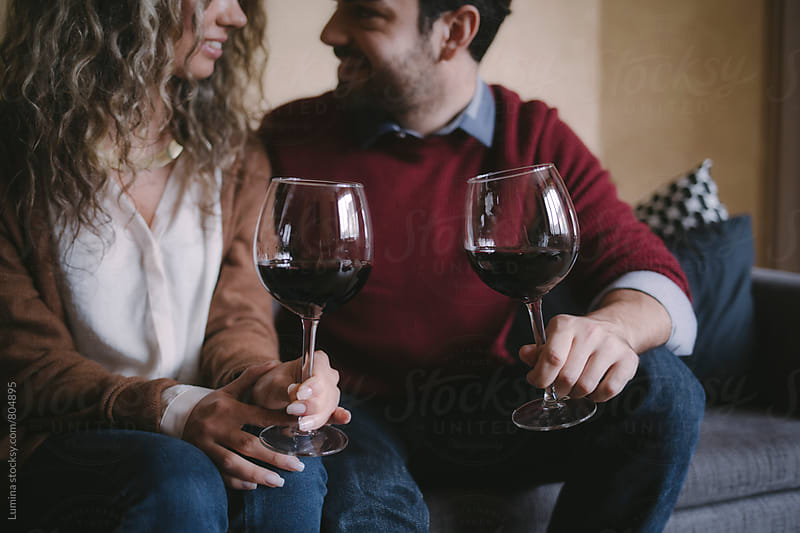 Couple Drinking Wine at Home by Lumina for Stocksy United